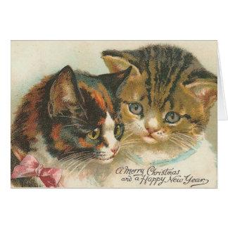 Navidad del vintage y gatos del Año Nuevo Tarjeta De Felicitación