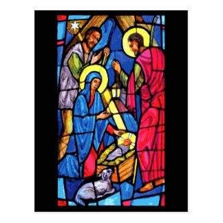Navidad del vitral de la natividad postales