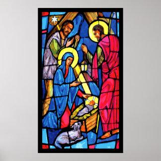 Navidad del vitral de la natividad poster