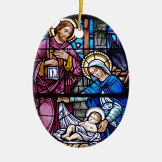 Navidad del vitral adorno ovalado de cerámica