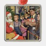 Navidad deseo, muchacho del vintage en el revestim ornamentos de navidad