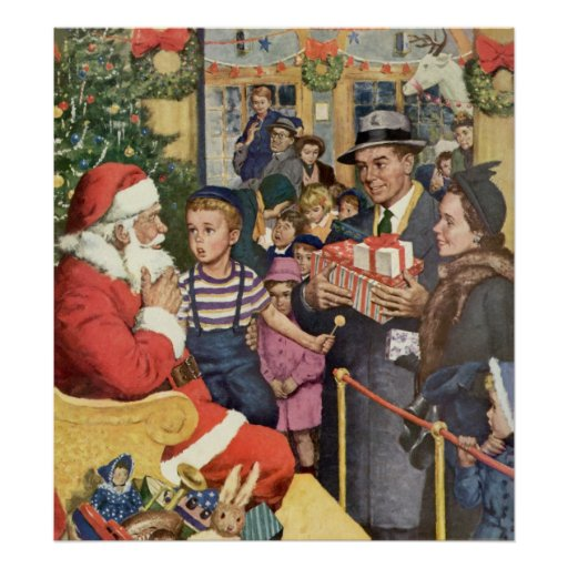 Navidad deseo, muchacho del vintage en el revestim posters