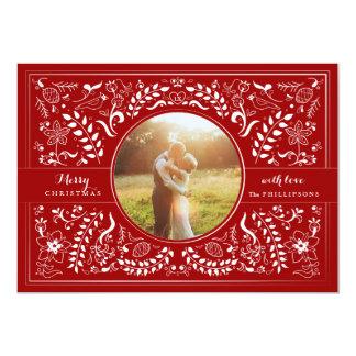 """Navidad dibujado mano del arte popular en el rojo invitación 5"""" x 7"""""""