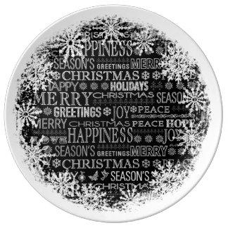 Navidad dibujado tiza que saluda la placa de la plato de cerámica