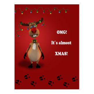 Navidad divertida del reno - postal