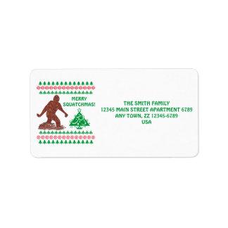 Navidad divertido de Bigfoot Sasquatch Yeti Etiqueta De Dirección