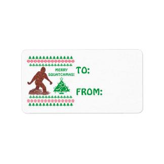 Navidad divertido de Bigfoot Sasquatch Yeti Etiquetas De Dirección