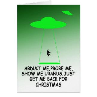 Navidad divertido de la abducción extranjera tarjeta de felicitación
