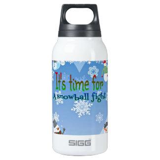 Navidad divertido de la lucha de la bola de nieve botella isotérmica de agua