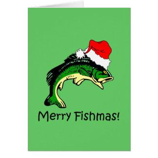 Navidad divertido de la pesca tarjeta de felicitación