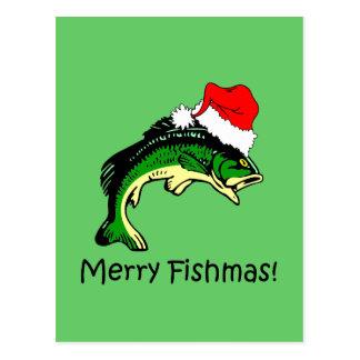 Navidad divertido de la pesca tarjeta postal