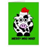 Navidad divertido de la vaca felicitacion