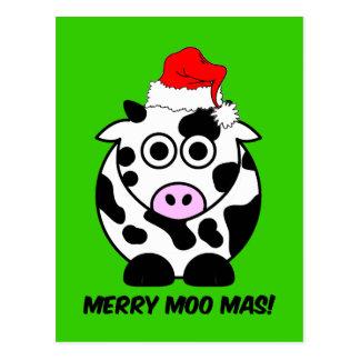 Navidad divertido de la vaca postal