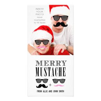 Navidad divertido de las gafas de sol del bigote tarjetas fotográficas
