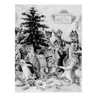 Navidad divertido de los gatos del vintage postales