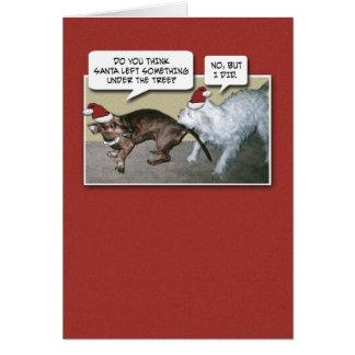 Navidad divertido de los perros tarjeta de felicitación