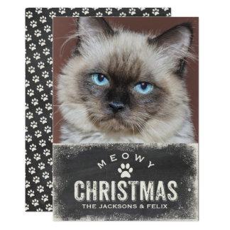 """Navidad divertido de Meowy su foto del gato Invitación 5"""" X 7"""""""