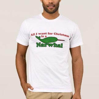 Navidad divertido de Narwhal Playera