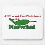 Navidad divertido de Narwhal Alfombrilla De Ratones