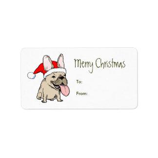 Navidad divertido de Papá Noel del dogo francés Etiqueta De Dirección