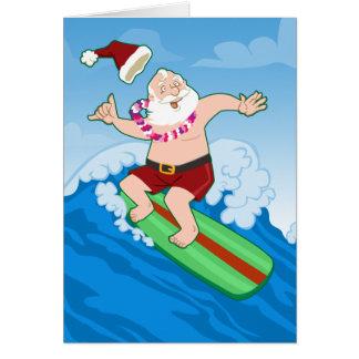 Navidad divertido de Santa que practica surf Tarjeta De Felicitación