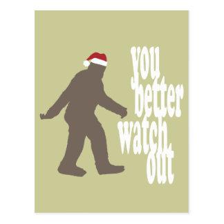 Navidad divertido de Sasquatch Santa Tarjetas Postales