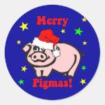 Navidad divertido del cerdo etiquetas redondas