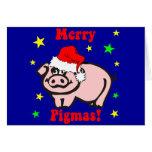 Navidad divertido del cerdo felicitación