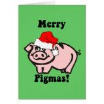 Navidad divertido del cerdo felicitaciones