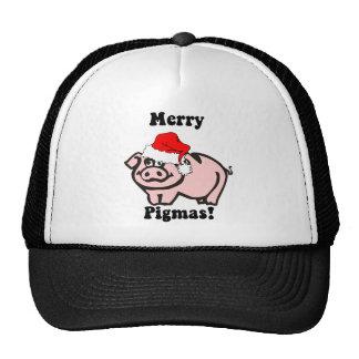 Navidad divertido del cerdo gorras de camionero