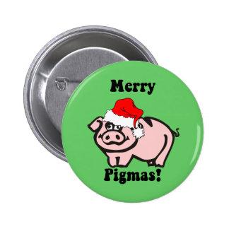 Navidad divertido del cerdo pin redondo de 2 pulgadas