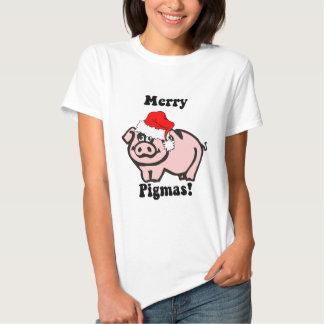 Navidad divertido del cerdo playera