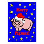 Navidad divertido del cerdo tarjetas