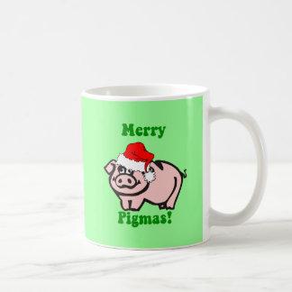 Navidad divertido del cerdo tazas