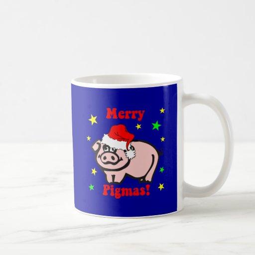 Navidad divertido del cerdo taza clásica