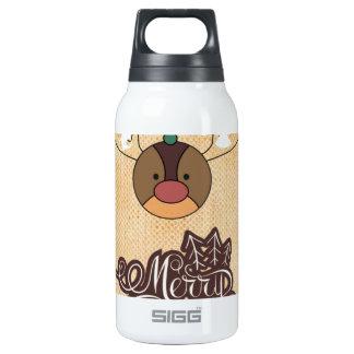 Navidad divertido del estilo del vintage del reno botella isotérmica de agua