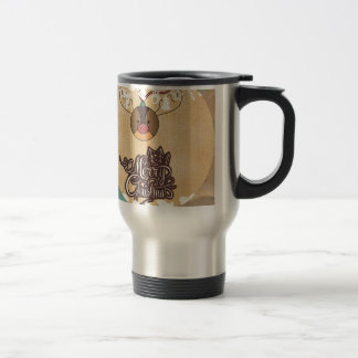 Navidad divertido del estilo del vintage del reno taza de viaje de acero inoxidable