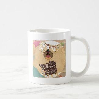Navidad divertido del estilo del vintage del reno taza básica blanca