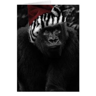 Navidad divertido del gorila felicitaciones