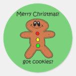 Navidad divertido del hombre de pan de jengibre pegatina redonda