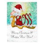 Navidad divertido del jefe de Santa Postal