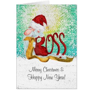 Navidad divertido del jefe de Santa Tarjeta De Felicitación