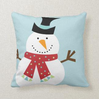 Navidad divertido del muñeco de nieve de encargo cojin