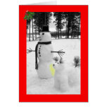 Navidad divertido del muñeco de nieve felicitaciones