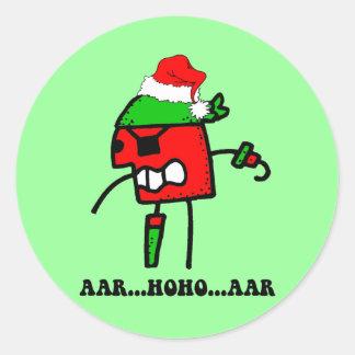 Navidad divertido del pirata pegatina redonda