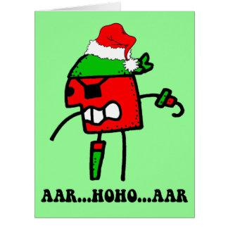 Navidad divertido del pirata tarjeta