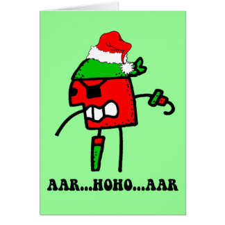 Navidad divertido del pirata tarjeta de felicitación