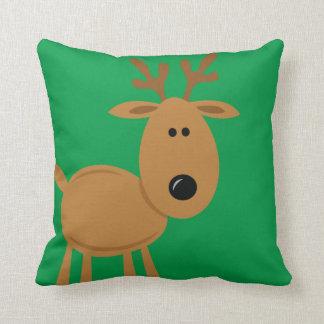 Navidad divertido del reno de encargo almohada
