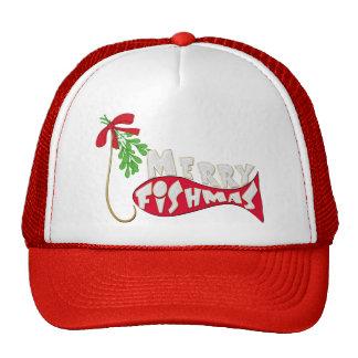Navidad divertido feliz Fishmas de la pesca Gorros