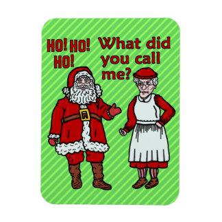 Navidad divertido Papá Noel y señora Holiday Joke Imanes Rectangulares